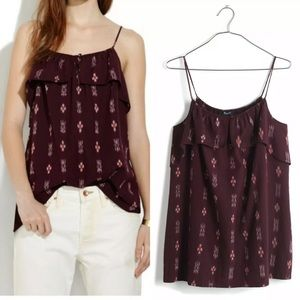 Madewell Burgundy Ruffle Ikat Cotton Tank Top